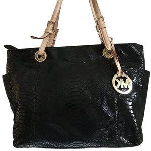 Michael Kors Black Snake Prin Leather Shoulder Bag